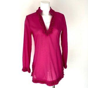 Tory Burch | Hot Pink V-neck Pom Tunic